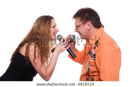 A series of photos about a musical duet - stock photo