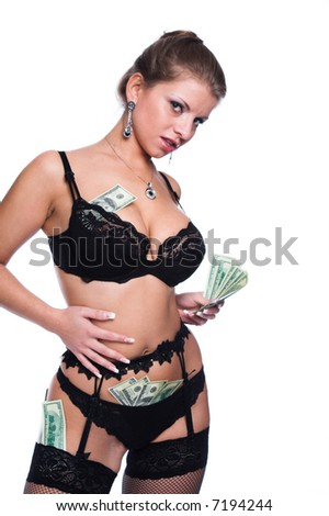 A series of photos about the girl and money - stock photo