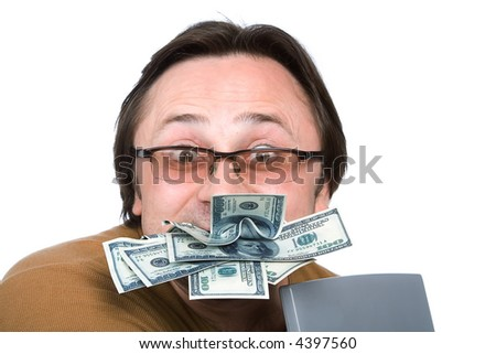 A series of photos about the person and money - stock photo