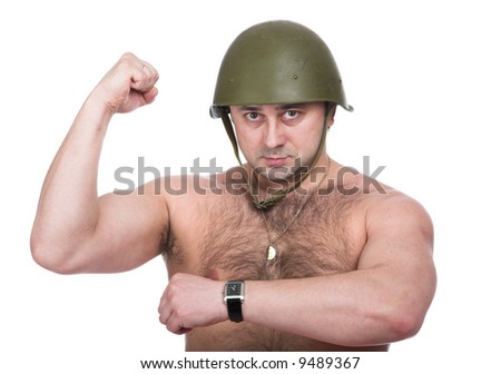A series of photos of the person in an army helmet - stock photo