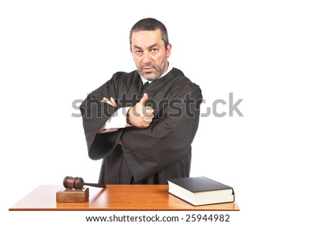 A serious male judge isolated on white background. Ok gesture