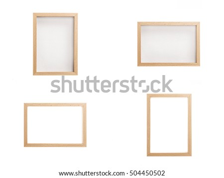 A set(group) of many(variety) photo wood(oak, maple, walnut, white) frames isolated white.