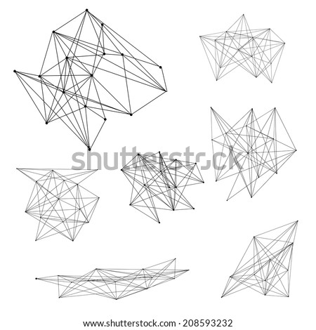 A set of abstract geometric line designs, JPEG version. - stock photo