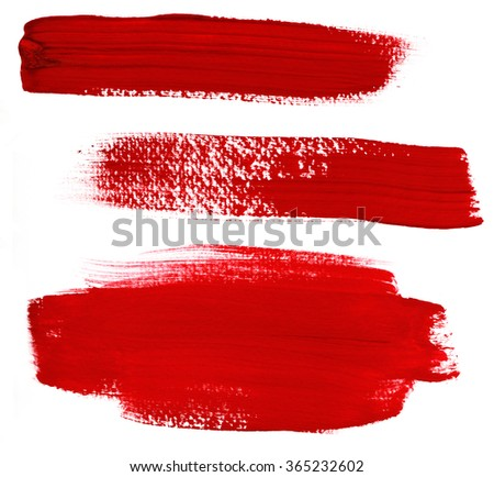A set of abstract red paint brush strokes on white background, handmade design elements