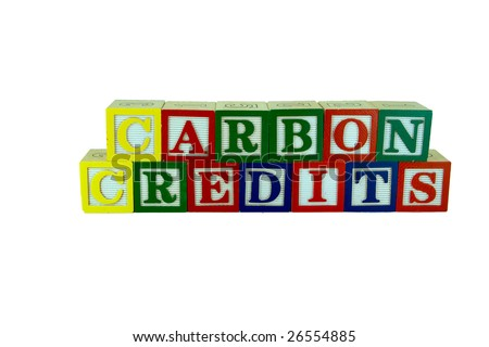 a set of alphabet blocks that spell carbon credits in two rows