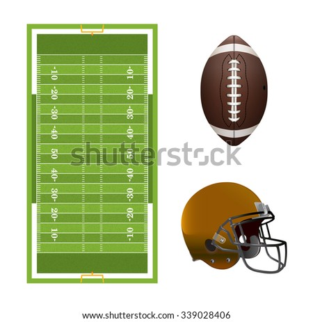 A set of American football elements, field, helmet, and ball isolated on white. EPS file contains transparency and gradient mesh. - stock photo