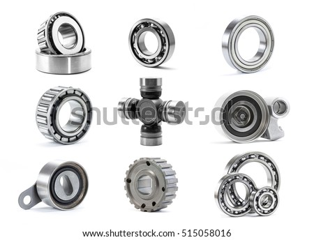 A set of bearing and rollers isolated on white background used in car mechanism,