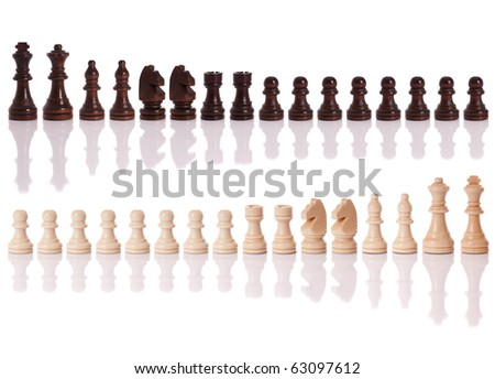 A set of black and white chess pieces isolated on a white background - stock photo