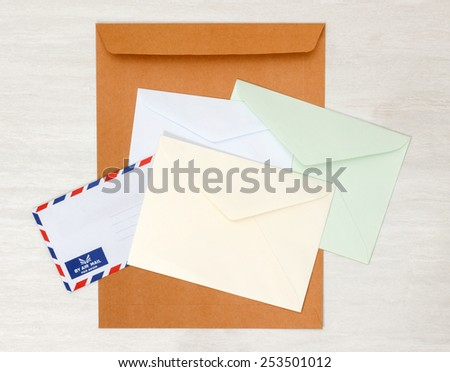 A set of blank envelopes different size and color view 2