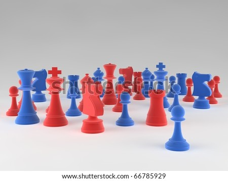 A set of blue & red chess pieces against a blank background - stock photo