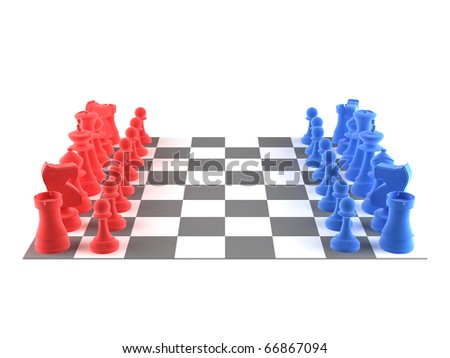 A set of chess pieces - blue + red - stock photo