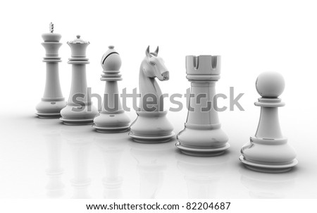 A set of chess pieces isolated on a white background - stock photo
