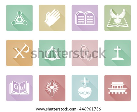 A set of Christian icons and symbols including praying hands, chi rho, ark and alpha omega - stock photo