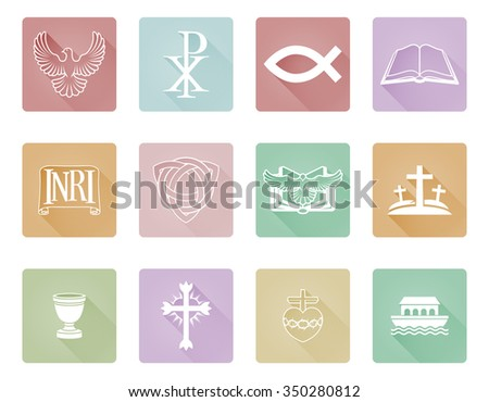 A set of Christian icons and symbols inclusing cross and Christian fish - stock photo
