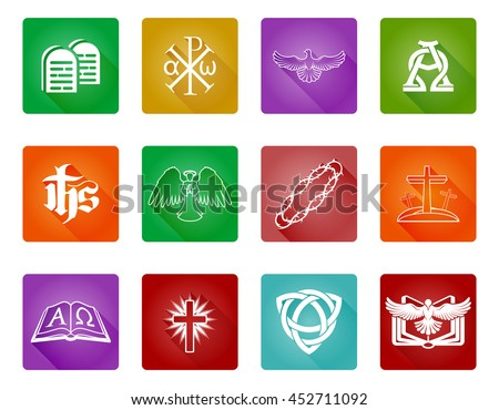 A set of Christian religious icons and symbols with alpha omega, chi rho and bible - stock photo