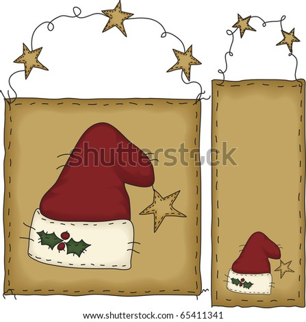 A set of Christmas tags in folk art style. The background banners and hats are grouped individually.  File contains simple 10-step blends and linear gradients.