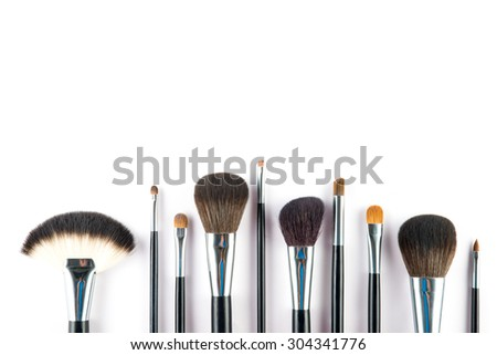 a set of cosmetic brush,  High Angle view, fashion and beauty,  tool set - stock photo