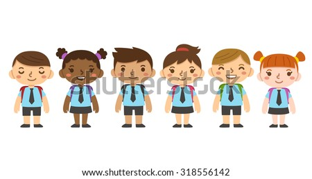 A set of cute diverse children in school uniform with backpacks. Different skintones, hairstyles and facial expressions. - stock photo