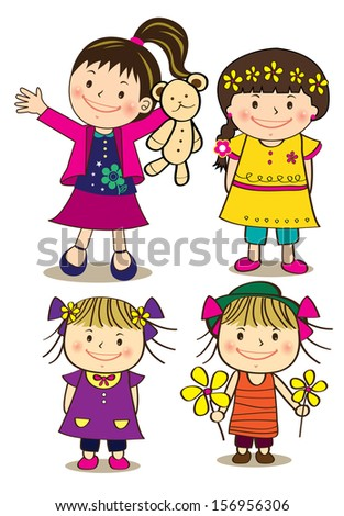 A set of cute little girl  - stock photo