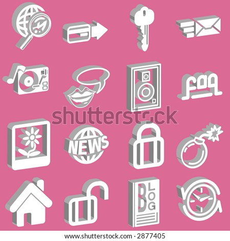 a set of 3d white web icons. Raster version - stock photo