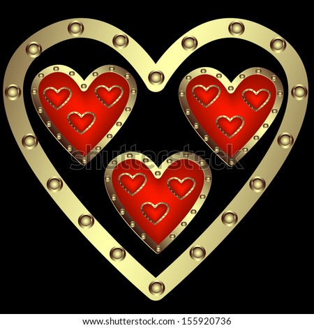 A set of decorative hearts on a black background