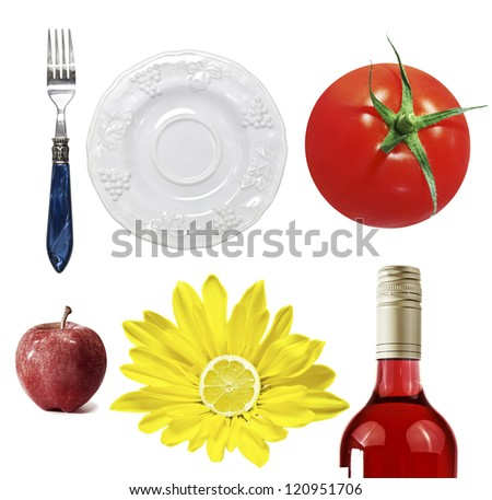 A set of different pictures on food topic - stock photo
