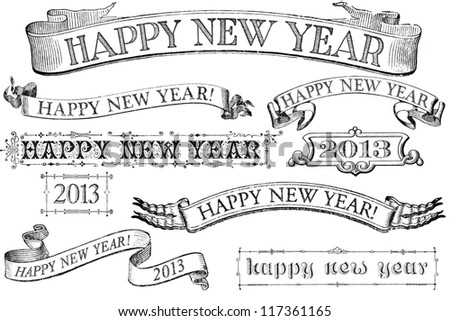 A set of distressed, old-style Happy New Year stamps for 2013. Similar in style to imprints from the 1800s.  Isolated on white.