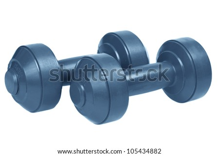 A set of dumb bells. isolated on a white background - stock photo