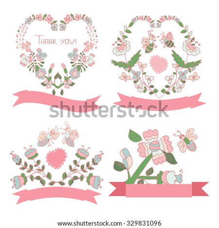 A set of elements on a postcard. Wedding invitations, Valentine's Day, anniversary, birthday. Flowers, heart, bee. Sketch. - stock photo