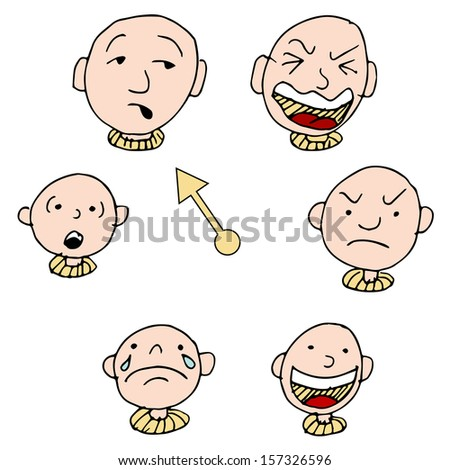 A set of faces showing different face expressions over time. - stock photo