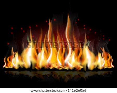 A set of flames, illustration/Burning flame - stock photo