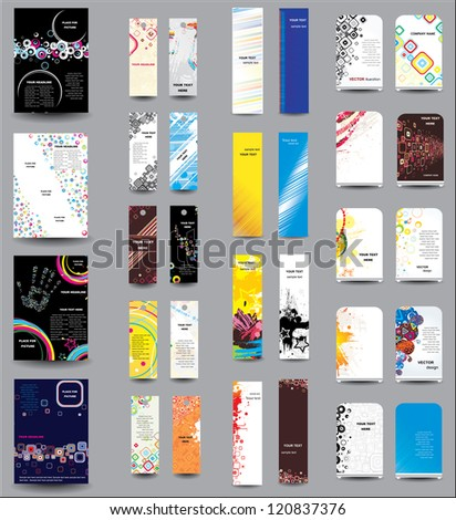 A set of flyers , banners , labels, roll-up - stock photo