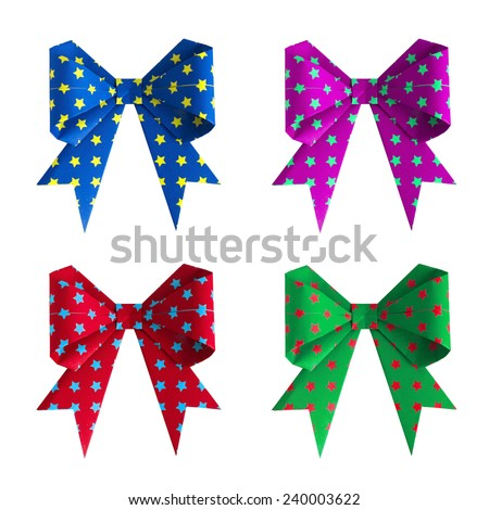 A set of four colorful origami paper craft ribbon isolated on white background - stock photo