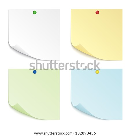 A set of four sheets of paper of different colors with curved corners, pinned pushpin. Raster version. - stock photo