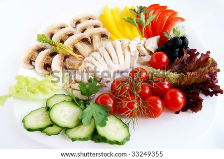 A set of fresh ingredients for healthy chicken salad - cucumber, lettuce, mushrooms, chard, sweet pepper, parsley, tomato, black olives, dill and boiled chicken meat on a plate, white background - stock photo
