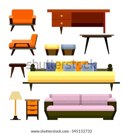 a set of furniture and home decoration on a white background - stock photo