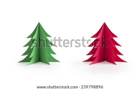 A set of green and red origami christmas trees paper craft isolated on white background - stock photo