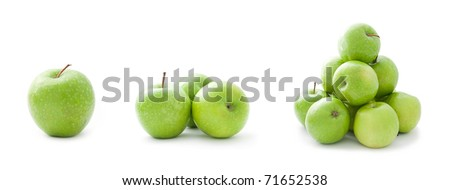 A set of green apples isolated on a white background