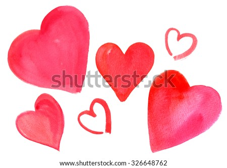 A set of hand drawn watercolor hearts on white background - stock photo