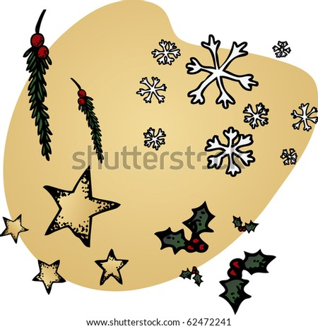 A set of hand-inked Christmas icons - stock photo