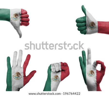 A set of hands with different gestures wrapped in the flag of Mexico - stock photo