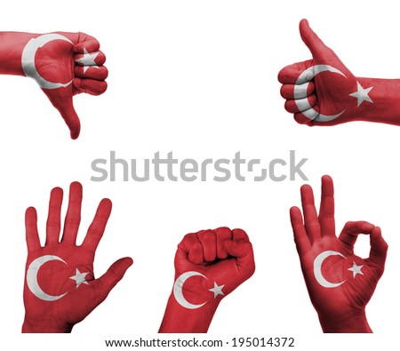 A set of hands with different gestures wrapped in the flag of Turkey