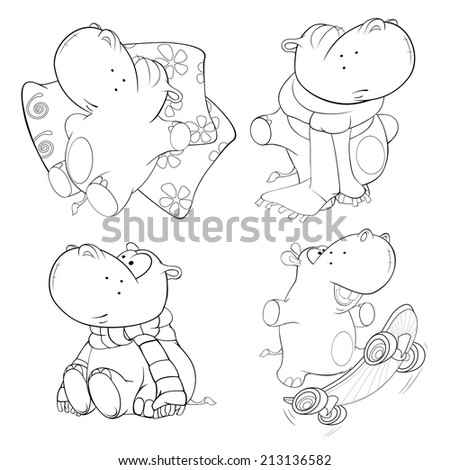 A set of hippopotamuses. Coloring book
