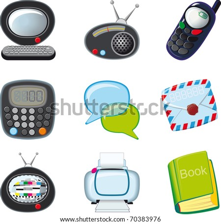 a set of icons for the home and office with rounded edges on a white background raster version - stock photo