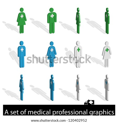 A set of icons of medical professionals - stock photo