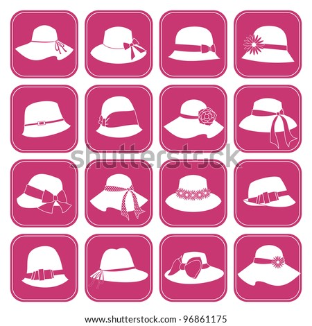 A set of 16 icons with elegant female hats. Vector version also available. - stock photo