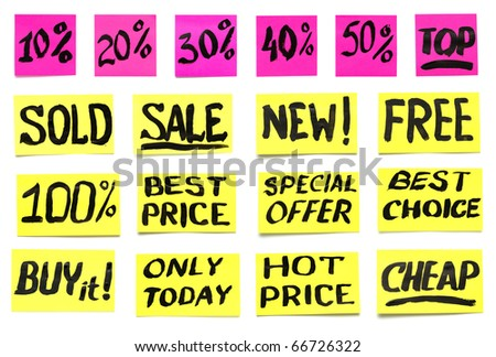 a set of labels for product promotion, handwritten paint - stock photo