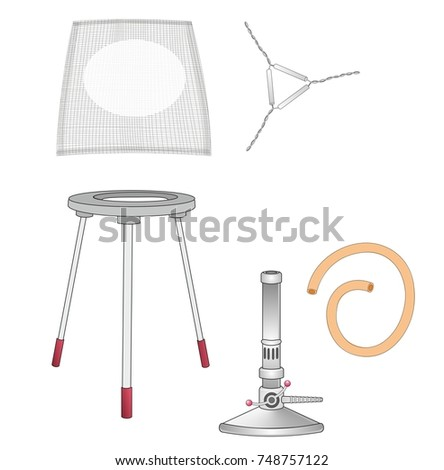 stock photo a set of laboratory equipments a bunsen burner a tripod and a wire gauze a bunsen burner is used 748757122 bunsen burner stock images, royalty free images & vectors wire gauge diagram at readyjetset.co