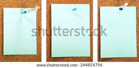 A set of 3 medical needles isolated on light green background with a copy space area - stock photo