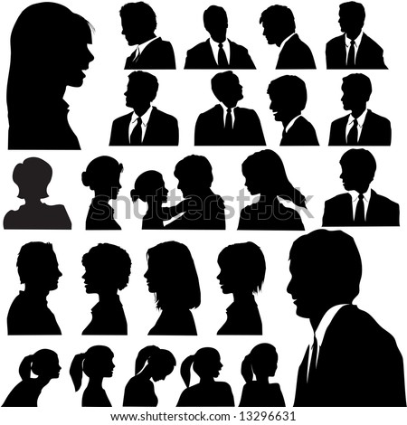 A set of men & women faces as head and shoulder profile silhouettes. JPG file includes 24 clipping paths.